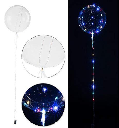 infactory LED Ballons: Luftballon mit Lichterkette, 40 Farb-LEDs, Ø 30 cm, transparent (Lichterkette Batterie)