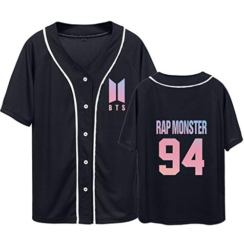 Dolpind Bangtan Jungen BTS Baseballtrikot im gleichen Stil SUGA Jimin Jung Kook Tee Shirt, Damen Jungen Herren, Rap Monster Black, X-Large