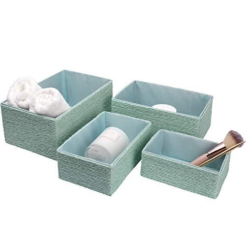 La Jolíe Muse Aufbewahrungskorb Aufbewahrungsboxen, Biologisch Handarbeit aus Papier Pappe, Mint grüne Umweltfreundliche Körbe für Accessoires Schminke 4er Set