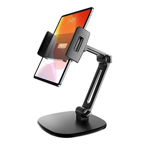 APPS2Car Tablet Halterung Tisch, Ständer für Tablet mit um 360° drehbarem Kopf, 3X verstellbare Stangen für 7-11-Zoll-Tabletten, kompatibel für iPad Mini/9,7/10,2/10,5 und mehr