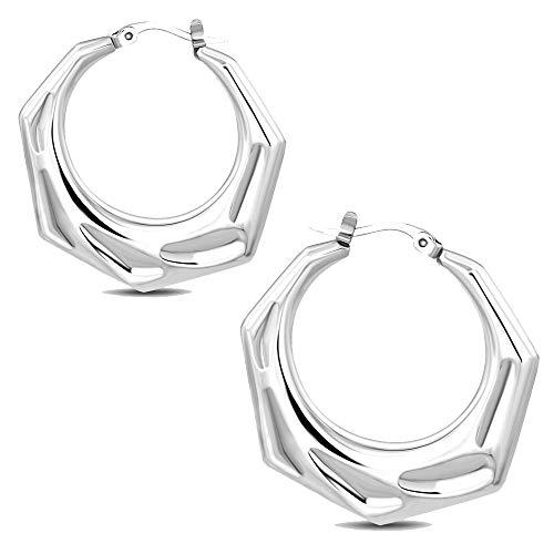 Pendientes de acero inoxidable plateado – Pendientes de aro – Hexágono martillado – 38 mm