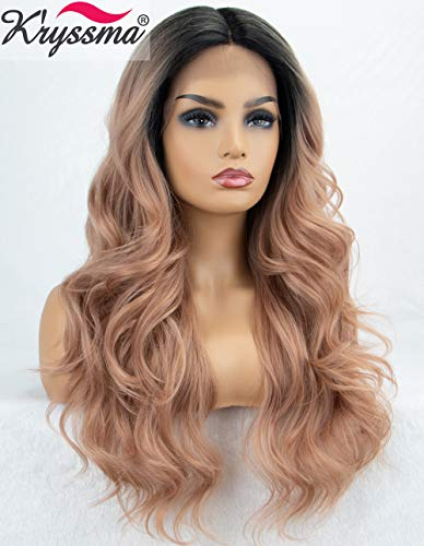 K'ryssma Pink Lace Front Wig Ombre Rose Blonde Synthetic Wig with Dark Roots Long Wavy Deep Middle Parting Pastel Pink Ombre Wigs for Women