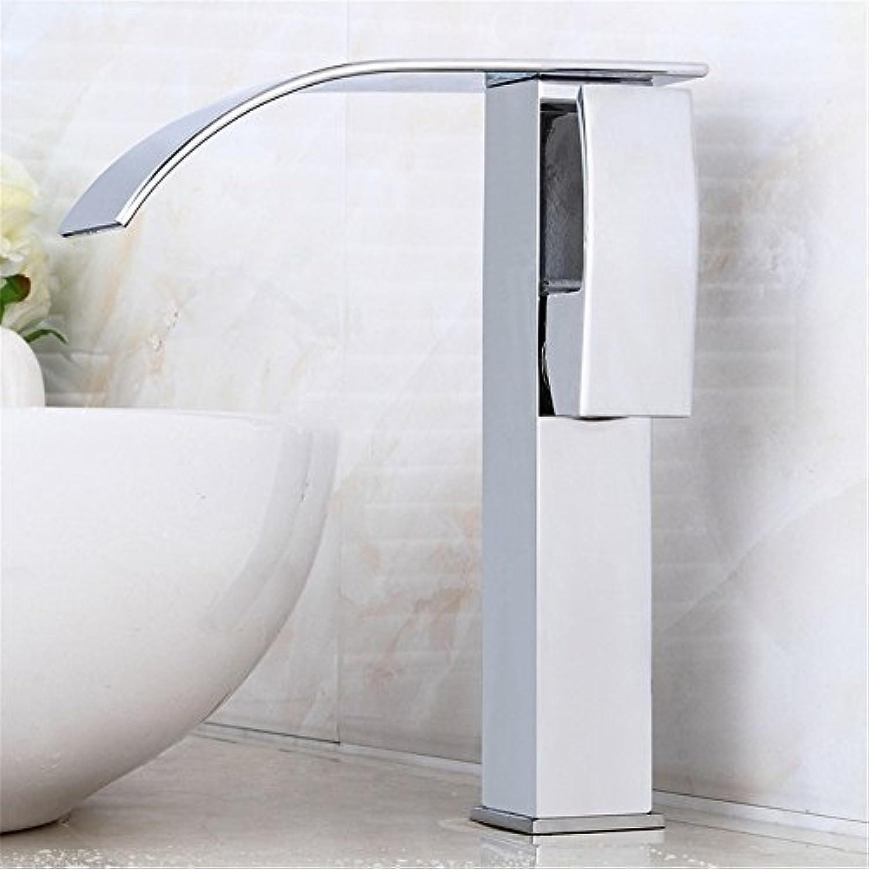 Bijjaladeva Wasserhahn Bad Wasserfall Mischbatterie Waschbecken Armatur für der Wasserfall Waschbecken Wasserhahn im Waschbecken Wasserhahn Becken Voll Kupfer heie und Kalte Einlo