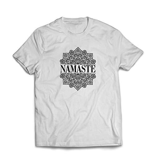 lepni.me Camisetas Hombre Meditación Yoga Namaste Mandala Zen Regalo Espiritual para Yogui (Small Blanco Multicolor)