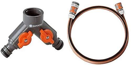 Gardena 2-Wege-Ventil, Wasserverteiler für Wasserhahn mit 26,5 mm Gewinde & Anschlussgarnitur Comfort Flex Schlauchadapter zum Anschluss des Schlauchwagens, 25 bar Berstdruck