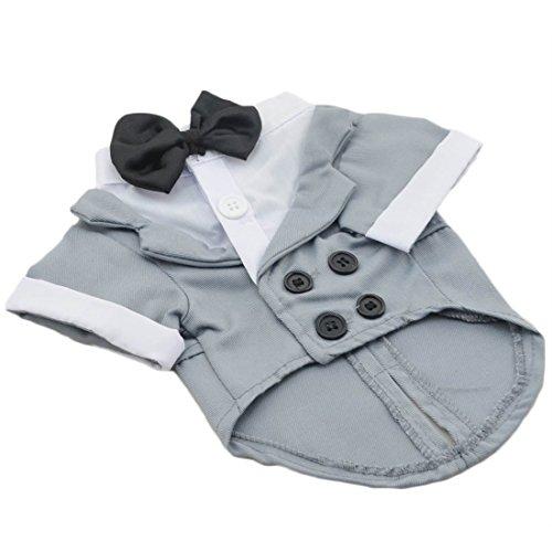 Blazer stijl Double Bborsted Shirt voor kleine puppy's honden hemd Jersey hond kostuum comfortabele pullover lente herfst pulli ademende hond bowknot tops feest hondenmantel, X-Large, grijs
