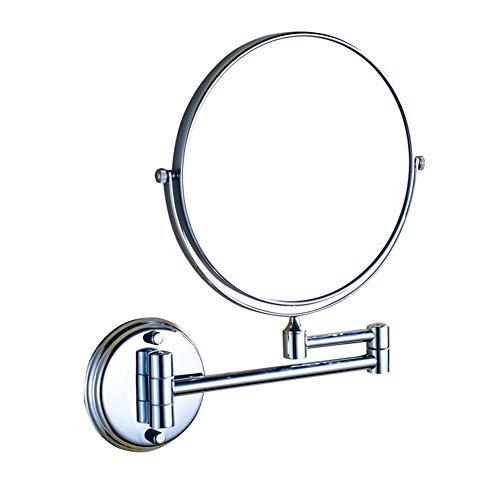 XNDCYX wandgemonteerde make-upspiegel, 3x vergroting ronde vorm tweezijdig 360 ° draaibaar in hoogte uitschuifbare badkamer cosmetische wastafel spiegel chroom