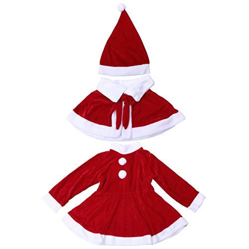 BESTOYARD Conjunto de Disfraz Papa Noel para Niña Gorro de Navidad Vestido de Navidad con Capa Tamaño 150 cm