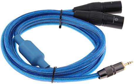 IPOTCH koptelefoon vervangingskabel 35 mm stekker voor smartphoneMP3spelertabletlaptop naar dual XLRstekker mannelijk adapterkabel 2 m