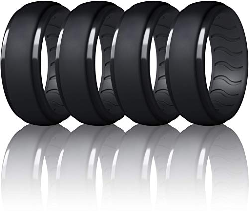 Dookeh Breathable Silicone Wedding Rings for Men - Skin Safe Mens Rubber Wedding Bands - Improved Design for Crossfit Workout Swimming Firefighters Military (All Black, Size 10)