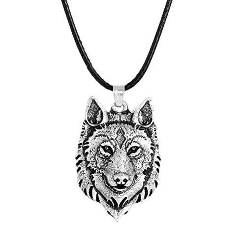 AOWA Collar con Colgante de Cabeza de Lobo de Plata tibetana, Amuleto de Animal Vikingo, joyería de Regalo para Hombres
