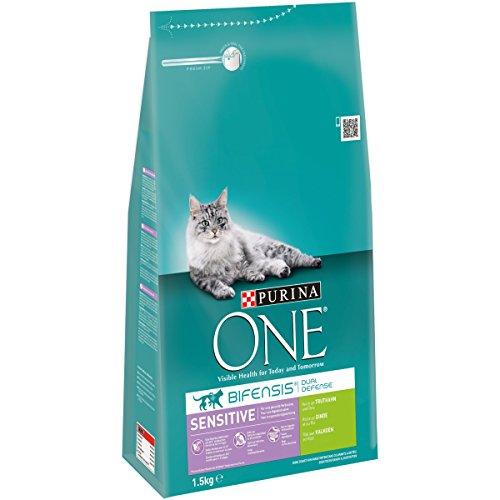 Purina One Bifensis Sensitive Kattenvoer, Kalkoen en Rijst Smaak, 6 Zakken (6 x 1,5 kg)