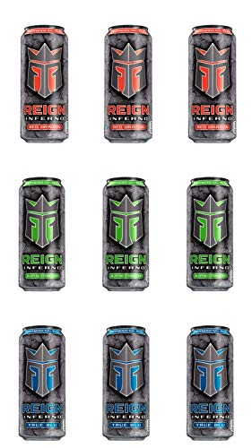 Reign Inferno, Thermogenic Fuel, Fitness and Performance Drink, 3 Flavor Variety Pack, 16oz (Pack of 9)