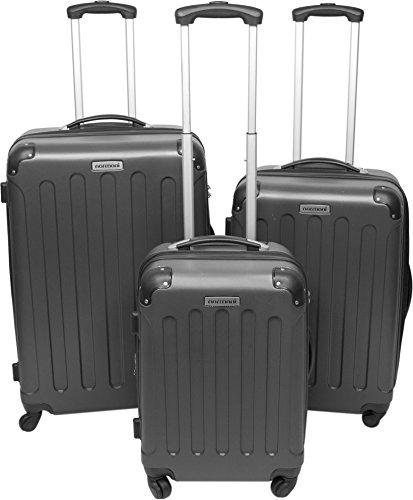 3er Hartschalen ABS Hochglanz Koffer Set in verschiedenen Motiven und Ausführungen Farbe Anthrazit