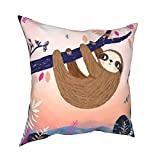 Mixcder Baby Sloth On The Tree Throw Pillow Cover Home Decor Cushion Case Sofa Couch Bed Outdoor Chair Square Pillowcase 18 x 18 Inches