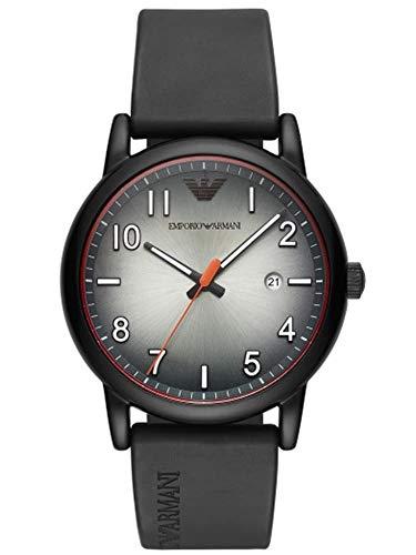 Emporio Armani Herren Analog Quarz Uhr mit Gummi Armband AR11176
