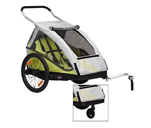 XLC 20 Zoll Duo² inklusive Buggyrad Fahrradkinderanhänger, Limone