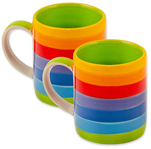 Bunte paar kaffee oder tee tassen in regenbogenfarben | kleine handbemalte Keramikbecher | Regenbogen-Tassen