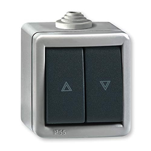 Aufputz Jalousientaster Wippe 10AX/250V~ / IP 55 (Metallausführung) Grau mit Wippe in Anthrazit