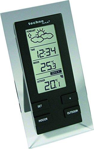 Technoline WS 9215-IT filigrane Wetterstation mit Vorhersage von Wettersituation, Anzeige von Wettertendenz und Innen und Außentemperatur, transparent-schwarz, 8,3 x 2,5 x 15,7 cm