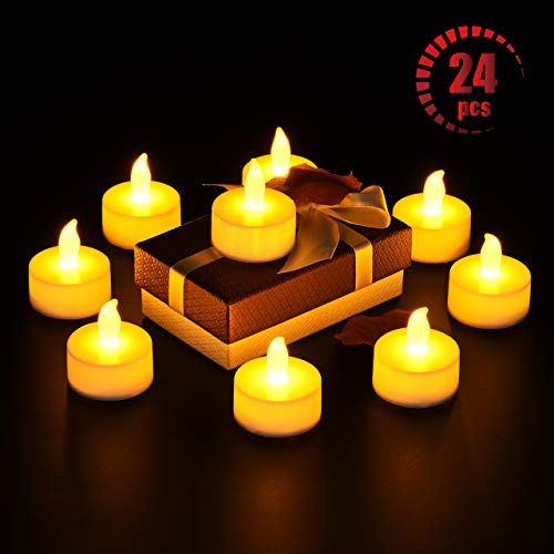 Teelicht Kerzen, OMORC 24 LED Kerzen elektrisch, Weihnachten LED Teelichter-Kerzen für Weihnachtsbaum, Ostern, Party, Bar, Hochzeit, Festival, Innen/Außen (A-Warm Gelb; Flammenlos; Batterien)