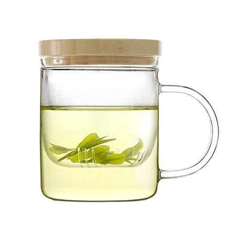 Emoi Glass Tea Cup with Infuser and Lid 12oz350ml Tea Mug with Tea Strainer and Bamboo lid Easy to Use Ideal for Tea Lovers to Make a Good Cup of Tea at Home Office or Traveling