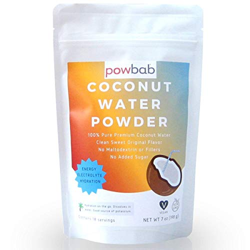 powbab Coconut Water Powder From 100% Organic Coconut. No Sugar Added. Pure Delicate, Clean Taste. Dehydrated, Not Freeze Dried, Raw, Unsweetened Electrolytes and Real Hydration. Good for Cramps.