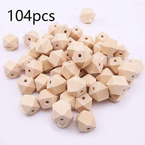 DAHI holzperlen Durchmesser 14mm -Holz Perle Bastelperlen mit 4 mm Loch für DIY Schmuck Zubehör (C)