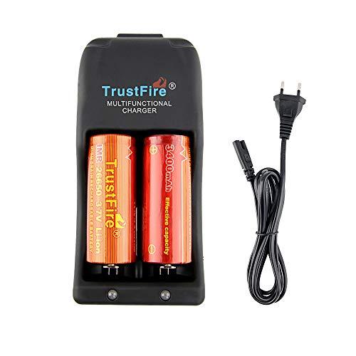 TrustFire TR-006 Akku Ladegerät Batterie Akkuladegerät aufladbar - 2 Slots für Li-Ion IMR LiFePO4 10440 14500 16340 17670 18500 18650 25500 26650 Lithium-Batterien, AC 100-240 V/5,5mm DC 12V Ausgang