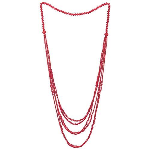 COOLSTEELANDBEYOND Rojo Cuentas Largo Statement Collar Multi Capas Cascada Cadena con Cristal Cuentas Encantado con Colgantes Colgante
