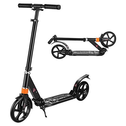 Big Wheel200 Faltbarer City Scooter Roller, 4 höhenverstellbare stoßfeste PU-Räder, City-Roller für Kinde rüber 8 Jahre und Erwachsene (schwarz)