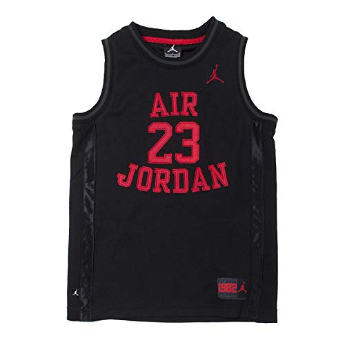 Nike Jordan Big Boys' Youth Classic Mesh Jersey Shirt (Black/Red, Medium)