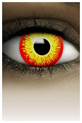 FXCONTACTS Farbige Halloween Kontaktlinsen gelb rot HORROR CLOWN, weich, 2 Stück (1 Paar), Ohne Sehstärke