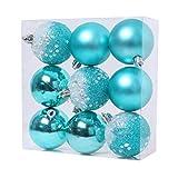 Gaoominy 9 PCS Adornos de Bolas de Navidad Decoraciones de áRboles de Navidad Bolas Colgantes para DecoracióN de Fiesta de AAO Nuevo en el Hogar - 2.36 Pulgadas, Azul