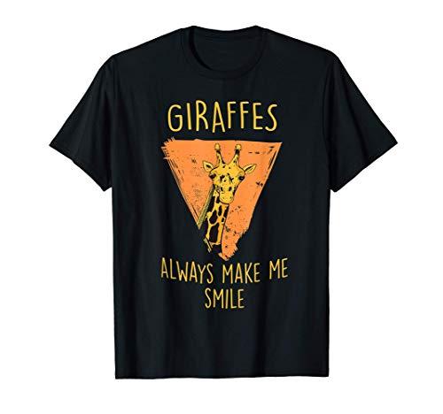 Giraffes always make me smile - Safari lustiges Giraffen T-Shirt