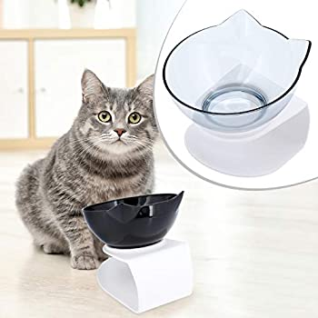 ShawFly Gamelle pour chat avec support incliné à 15 ° avec pelle à nourriture, bol simple et double bol en plastique transparent pour chats et petits chiens (1 pièce)