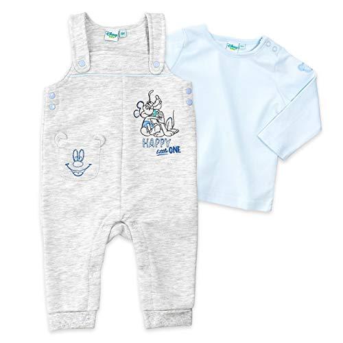 Disney Baby Set Shirt + Latzhose Jungen blau grau | Motiv: Mickey Mouse | Babyset 2 Teile für Neugeborene & Kleinkinder | Größe: 12-18 Monate (86)