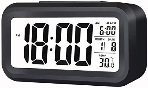 Uniky Despertador Digital [2021 Nueva Versión] LED Reloj Alarma Electrónico con Luz de Noche Pantalla LED de 5.3 Pulgadas con Hora, Fecha, Temperatura, Función Snooze