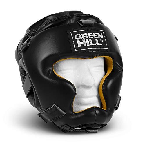 GREEN HILL Casco PARAZIGOMI Paramento Ironside Boxe Vera Pelle Opzionale Grata Ferro GRIGLIA Kick Boxing Krav Maga Difesa Personale (Casco PARAZIGOMI con GRIGLIA)