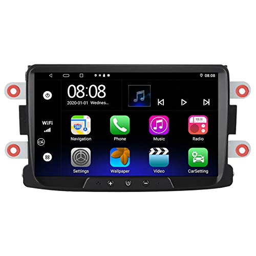 EZoneTronics Android 10.1 Auto Radio Stereo 8 pollici Touch Screen Navigazione GPS WIFI Bluetooth USB Player Support Carplay AM FM RDS 2G RAM+ 32G ROM per Renault Dacia Sandero Duster Logan Dokker