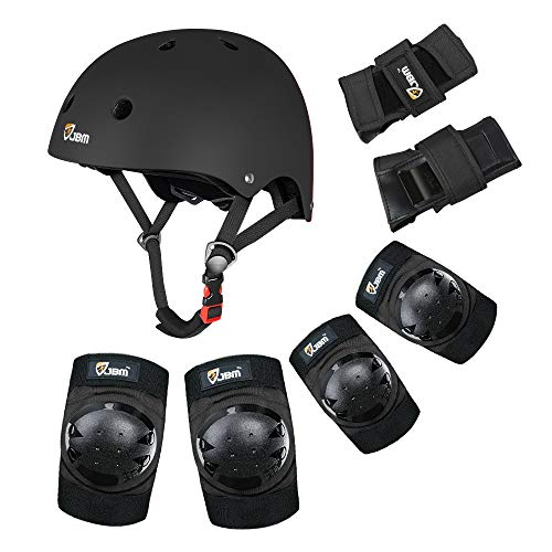 JBM Child & Adults Rider Series Protection Gear Set for Multi Sports Scooter, Skateboarding, Biking, Roller Skating, Protection for Beginner to Advanced, Helmet, Knee and Elbow Pads with Wrist Guards