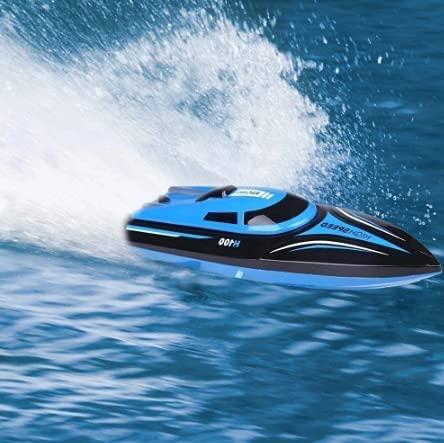 M-zen Juego de competición de Agua Barco RC Lancha rápida H100 Barco de Control Remoto eléctrico 2.4G Juguete acuático de Alta Velocidad Navegación Velocidad Extrema Modelo de yate Regalo para niños