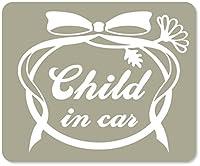 imoninn CHILD in car ステッカー 【マグネットタイプ】 No.29 お花リボン (グレー色)