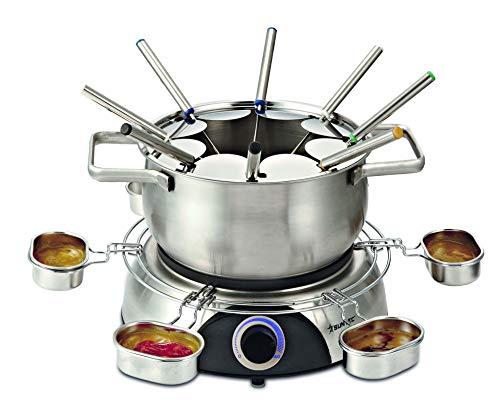 SUNTEC Elektro Fondue FON-8014 V2A | Set für bis zu 8 Personen | Fondueset für Käse, Schokolade und Fleisch | Fonduetopf mit Fett und Spritzschutz | Idealer Raclette Ersatz