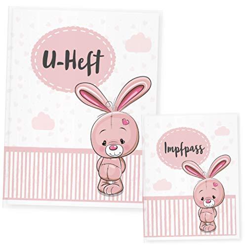 Funda para cuaderno de animales, funda para cuaderno y cartilla de vacunación, regalo ideal para nacimiento rosa conejo Talla:Uheft Set