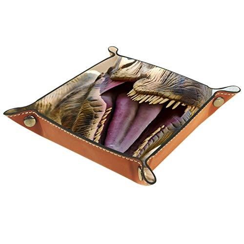 rodde Bandeja de Valet Cuero para Hombres - Boca Abierta de Dinosaurio - Caja de Almacenamiento Escritorio o Aparador Organizador,Captura para Llaves,Teléfono,Billetera,Moneda