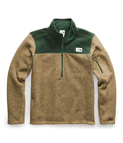 The North Face Men's Gordon Lyons Quarter Zip Pullover, British Khaki Heather/Night Green Heather, Large