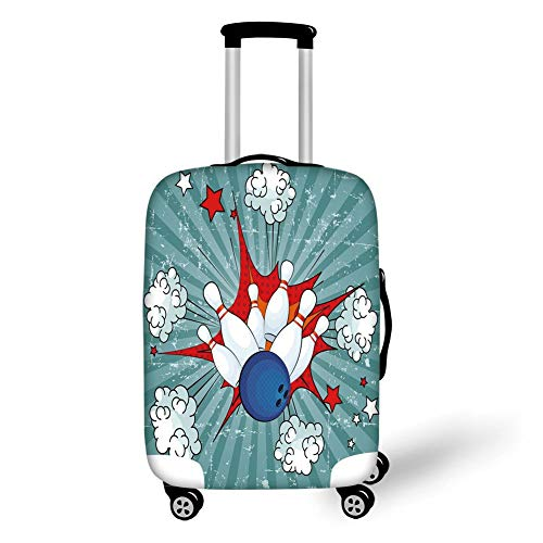 Travel Luggage Cover Suitcase Protector,Bowling Party Decorations,Retro Comic Cartoon Style Ball Crash Pop Art Blast Stars Aiming,Multicolor,for TravelM 23.6x31.8Inch