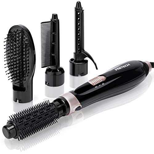 Hair Dryer Brush - Hot Brush for Hair Styling, Light Weight Hair dryer for Women,4 in 1 Hot Air Brush with 2 Speed for Hair Straightening,Volumizer,Fringe Curler,Black