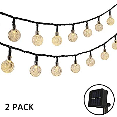 Woohaha 2 Pack Globe Solar String Lights, 21ft 30LED Outdoor Crystal Ball String Lights,Waterproof 8 Modes Solar Patio Lights for Lawn Patio, Garden, Gazebo, Yard, Outdoors (Warm White)